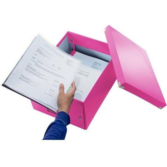 Pudło LEITZ C&S uniwersalne średnie WOW różowe 60440023