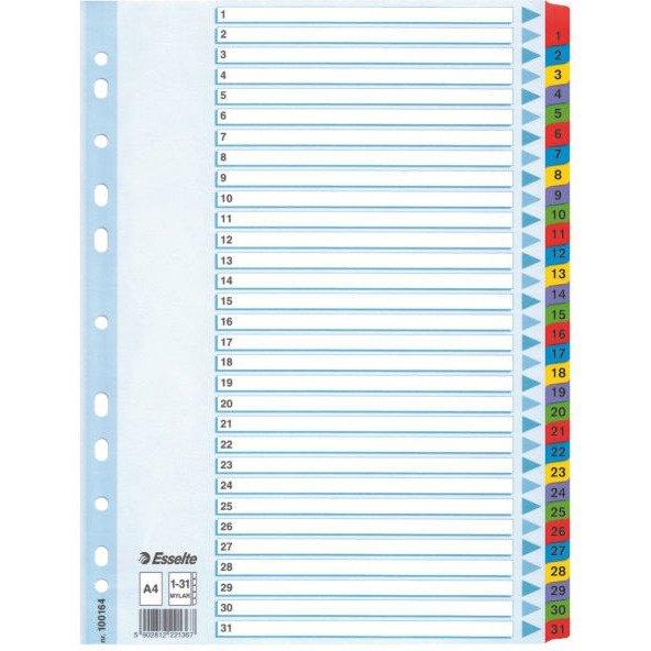 Przekładki kartonowe MYLAR A4 1-31 białe 100164 ESSELTE