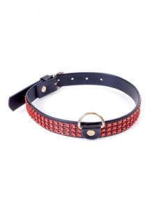 Fetish Boss Series Collar with crystals 2 cm Red Line