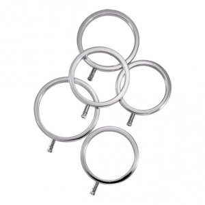 Metalowe pierścienie na penisa - ElectraStim Solid Metal Cock Ring Set 5 Sizes
