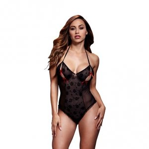 Body - Baci Black Lace Bodysuit & Bra Slits Red Bow One Size