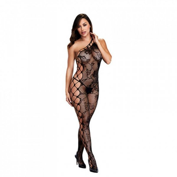 Bodystocking z wycięciem w kroku - Baci Off the Shoulder Bodystocking One Size