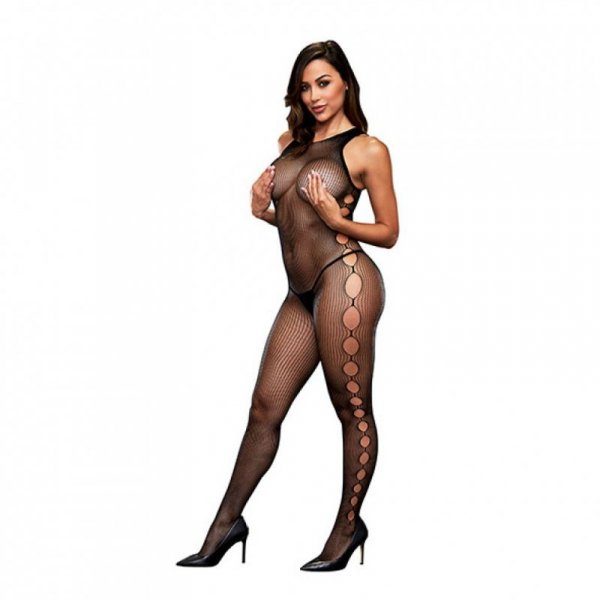 Bodystocking z wycięciem w kroku - Baci Open Side Sleeveless Bodystocking One Size