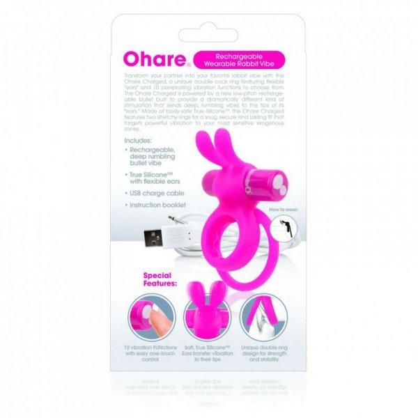 Pierścień wibrujący - The Screaming O Charged Ohare Rabbit Vibe Pink