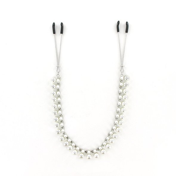 Zaciski na sutki - Sportsheets Midnight Pearl Chain Nipple Clips