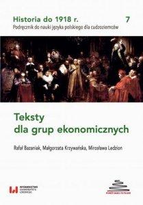 Historia do 1918 r. Teksty dla grup ekonomicznych. Podręcznik do nauki języka polskiego dla cudzoziemców