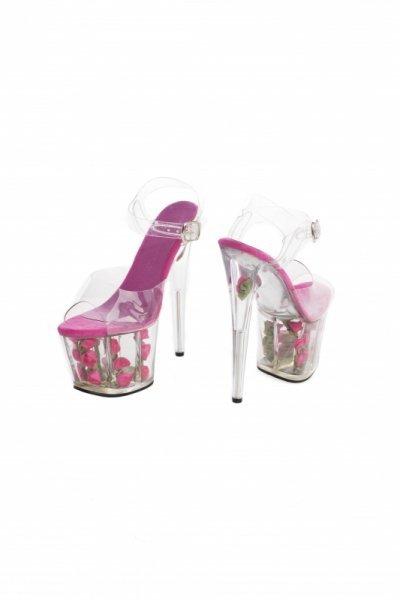 Buty platformy z różami fuxia 37