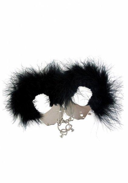 Kajdanki Metallic Handcuffs,Feather Cov.. Black
