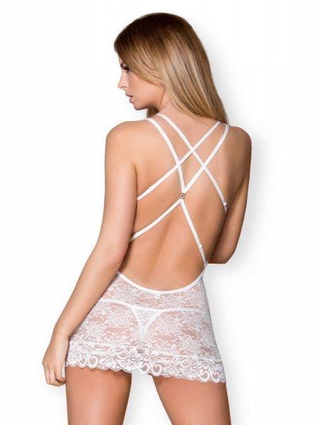 Bielizna-860-CHE-2 koszulka i stringi biała  S/M