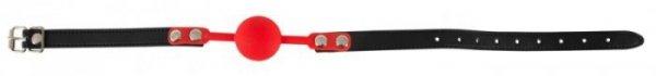Czerwony silikonowy knebel kula Bad Kitty śr. 4cm