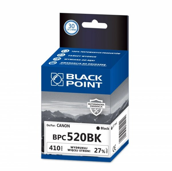 Black Point tusz BPC520BK zastępuje Canon PGI-520BK, czarny