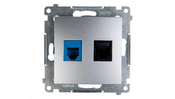 Simon 54 Gniazdo teleinformatyczne RJ45 kat.5e +RJ12 srebrny mat D5T.01/43