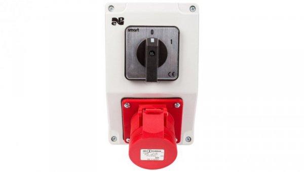 Zestaw instalacyjny z gniazdem 16A 4P RS-Z (0-1) czerwony 6277-00