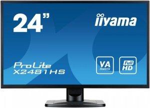 IIYAMA Monitor 24 X2481HS-B1 SLIM AMVA+, HDMI, DVI, 6 ms, Głośniki