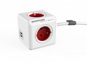 Allocacoc Listwa zasilająca PowerCube Extended USB 1,5m 2402RD/FREUPC Czerwona