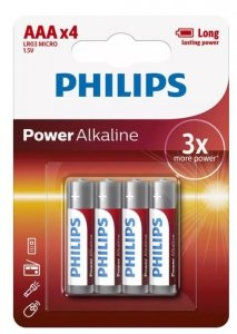 Philips Baterie Power Alkaline AAA 4 szt. blister