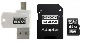 GOODRAM Karta microSDHC 64GB CL10 + adapter + czytnik