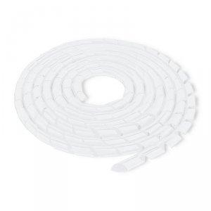 Qoltec Organizer do kabli 16mm   10m   biały/transparentny