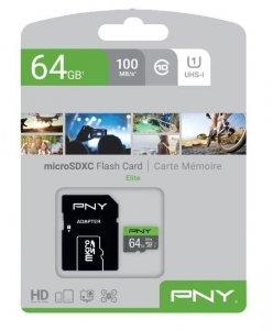 PNY Karta pamięci MicroSDXC Elite 64GB P-SDUX64U185GW-GE
