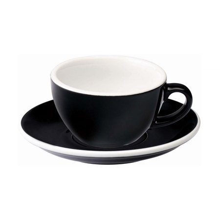 Loveramics Egg - Filiżanka i spodek Flat White 150 ml - Black