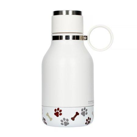 Asobu - Dog Bowl Bottle Stainless Steel Biała - Butelka z miską dla psa 1,1L