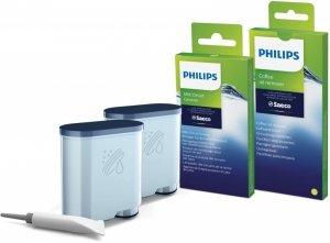 Zestaw akcesoriów do czyszczenia ekspresów Philips CA6707/10 (2 wkłady filtra AquaClean, 6 saszetek ze środkiem do czyszczenia o