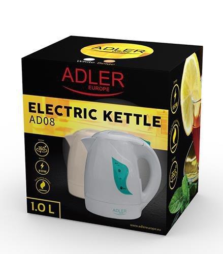 Czajnik elektryczny Adler AD 08w (900W 1l; kolor biały)