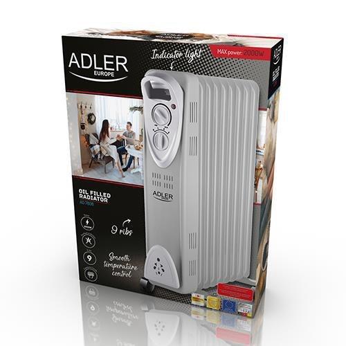 Grzejnik olejowy Adler AD 7808 (2000W; 9; kolor biały)