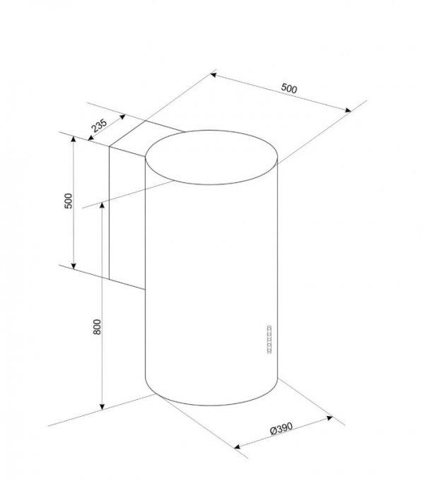 Okap przyścienny, tuba CIARKO ORP Biały (390mm, kolor biały)