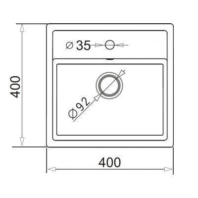 Zlewozmywak granitowy jednokomorowy PYRAMIS CAMEA MINI (40x40) 1B granit czarny 070013501 (kolor czarny nakrapiany)