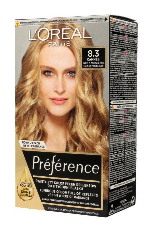 Loreal Preference Farba do włosów nr 8.3 Cannes - jasny złocisty blond  1op.