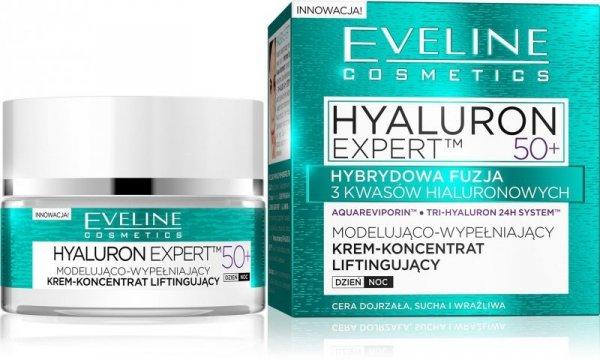 Eveline Hyaluron Expert 50+ Krem-koncentrat modelująco-wypełniający na dzień i noc  50ml