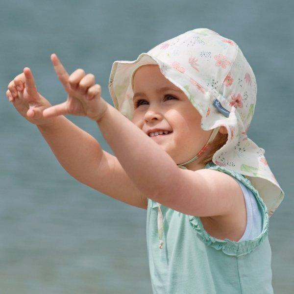 Przeciwsłoneczny kapelusz z osłoną na kark dla dziewczynki