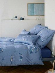 Elegante pościel mako-bawełniana egipska Home niebieska 2344 200x220
