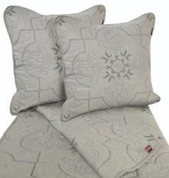 Przepiękna haftowana narzuta bawełniana szara 160x220