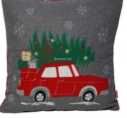 Poszewka świąteczna filcowa auto 45x45