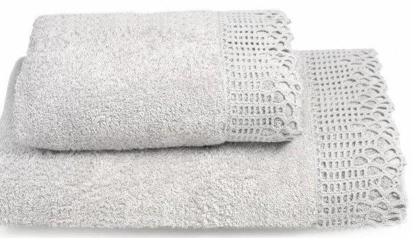Ręcznik Ada szary z koronką 50x90, 70x140