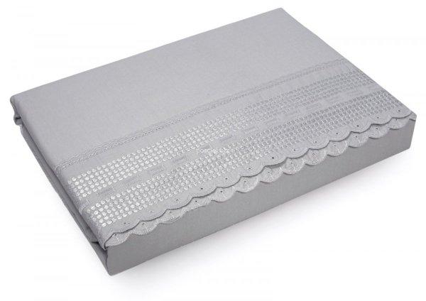 Pościel bawełniana Aniela szara z koronką 220x200