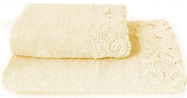 Ręcznik Ula kremowy z koronką 50x90, 70x140