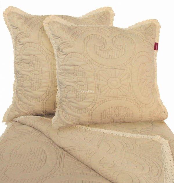 Przepiękna narzuta bawełniana beżowa z koronką 240x220