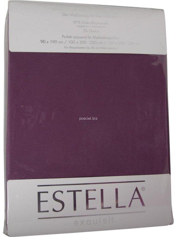 Prześcieradło zwirn-jersey z gumką Estella aubergine