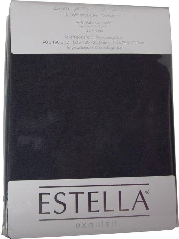 Prześcieradło zwirn-jersey z gumką Estella schiefer