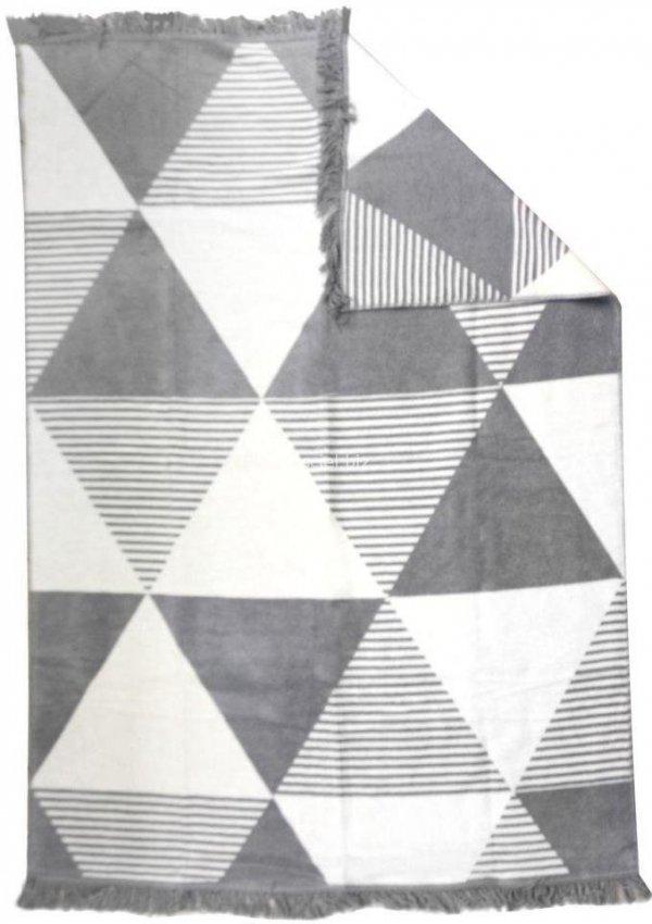Koc trójkąty szary 150x200