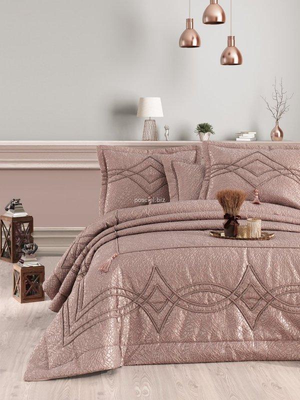 Ekskluzywna narzuta Savarona różowe złoto 260x250