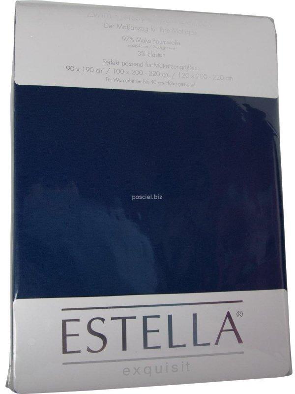 Prześcieradło zwirn- jersey z gumką Estella saphir