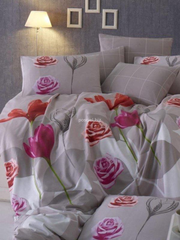 Kupon pościel bawełniana Lavin szaro-różowa 200x220