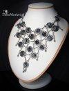 naszyjnik - gotycka kolia z półszlachetnymi kamieniami naturalnymi Obsydian Śnieżny