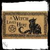 pomysł na prezent dla wiedźmy czarownicy - wycieraczka z czarnym kotem i pentagramem