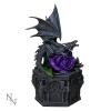 gotycka szkatułka ze smokiem i fioletową różą od Anne Stokes - Dragon Beauty