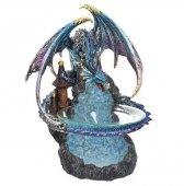 Błękitny Smok - kominek podgrzewacz do olejków wys. 24 cm